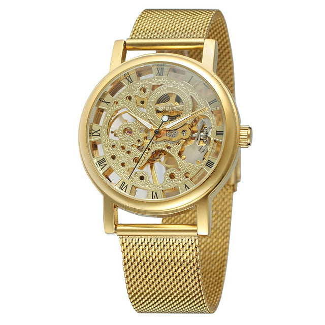 Costbuys  Men Mechanical Watches Stainless Steel Watch Skeleton Transparent Sport - gold box