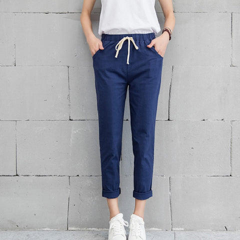 NEW Jeans Women Spring Pants High Waist Thin Slim Elastic Waist Pencil Pants Fashion Denim Trousers 3 Color Plus Size