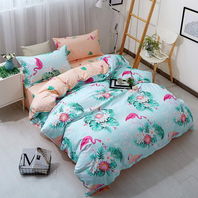 Costbuys  Bedding Sets Long period flowers Polyester Cotton Queen full Bed Linens duvet cover Sheet Sets - 14 / Full cover 150by