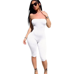 Summer Rompers women Jumpsuits Bodysuit Sleeveless Strapless Bodycon One piece Romper off shoulder Skinny Feminino