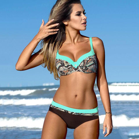 Sexy Floral Print Bikinis High Waist Swimsuit Swimwear Women Brazillian Bikini Set Female Bathing Suit Bikini Beach Wear
