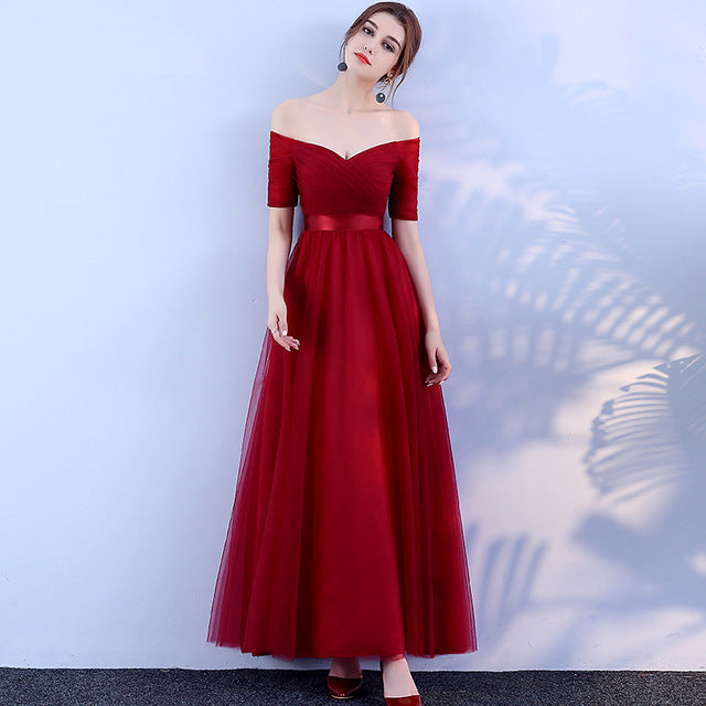 Costbuys  Long Bridesmaid Dresses Off the Shoulder Half Sleeve - wine red / 10
