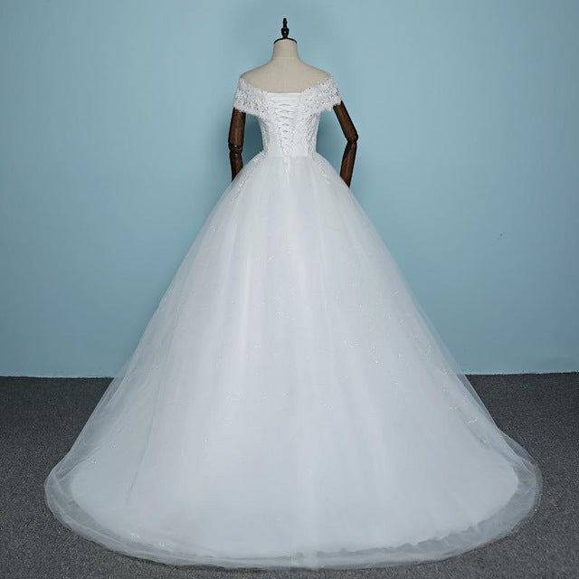 Boat Neck Wedding Dress Court Train Bride Gown Bling Sequined ...