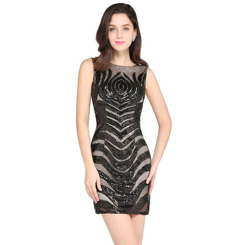 Black Sequined Lace Mini Cocktail Sexy Backless V-Neck Short Party Dresses  Sleeveless Club Designer e755b2c4d1bd