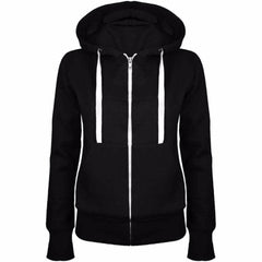 Solid Women Sweatshirt Hoodies Zipper Autumn Spring Casual Black Hooded Sweatshirt Long Sleeve Coat Pullovers