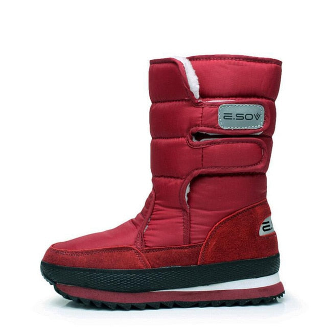 Costbuys  Women boots winter shoes plush warm slip-resistant women snow boots waterproof platform boots - upgrade wine red / 5.5