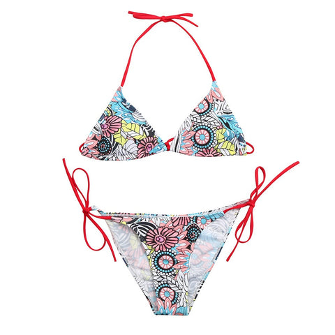 Vintage Sexy Ruffled Bikini Thong Strap Heart Print Swimsuit Halter Swim Wear Bathing Suit Swimwear Women Bikini