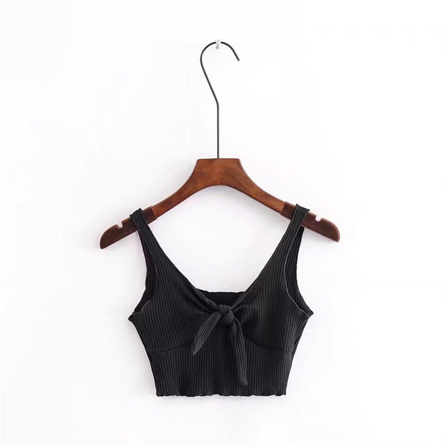 Costbuys  Sexy slim tank top women sleeveless crop top halter bow Tie Front Ribbed Crop Tank Top strappy bra brandy summer - bla