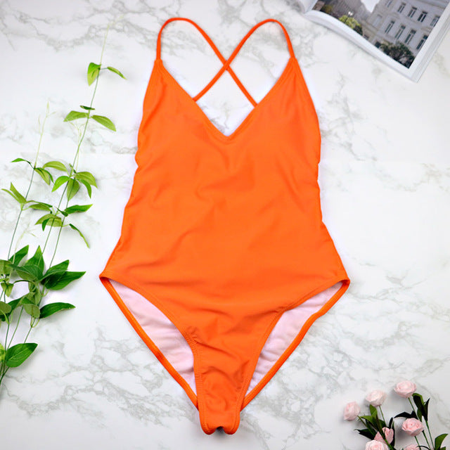 Costbuys  Women Swimwear Sexy high cut one piece swimsuit Backless swim suit Black White Red thong Bathing suit female - NO 5 /