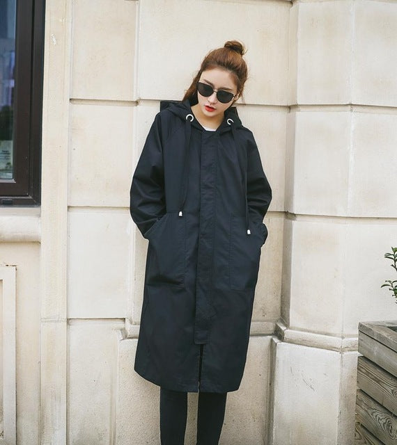 Costbuys  Women long style trench coat  thin solid outwear casual hooded loose long sleeve coat female trench - Black / L