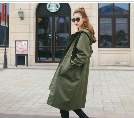 Costbuys  Women long style trench coat  thin solid outwear casual hooded loose long sleeve coat female trench - Army green / L