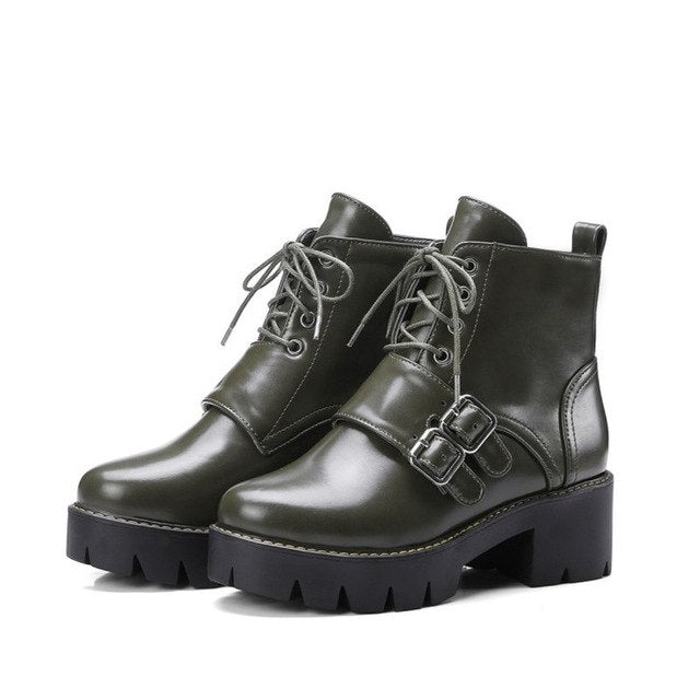 fe4a574a8205 Punk Rock Gothic Motorycle Ankle Boots Women Buckle Chunky Block High Heels  Martin Boots Female Shoes