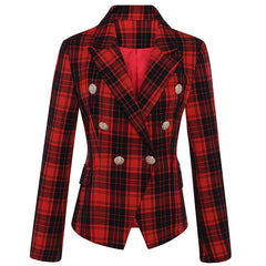 Blazer Women's Long Sleeve Double Breasted Lion Metal Buttons Classic Plaid Blazer Jacket