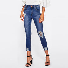 Blue Bleach Wash Distressed Rock Denim Jeans Women Casual High Waist Button Fly Ripped Pants Skinny Jeans
