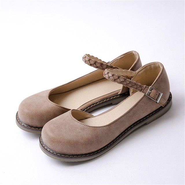 Spring Fashion Mary Janes Women's Round Toe Buckle Strap Vintage Flat Shoes Round Toe Handmade Comfortable Flats