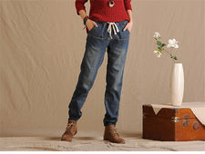 Elastic Waist Winter Jeans Pants Loose Women's Harem Pants Trousers Plus Thick Velvet Warm Straight Denim Jeans Leggings