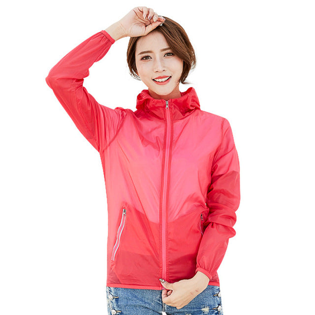Costbuys  Women's Quick Dry Softshell UV Jackets Spring Outdoor Fishing Camping Hiking Trekking Windbreakers Female Coat - Red /