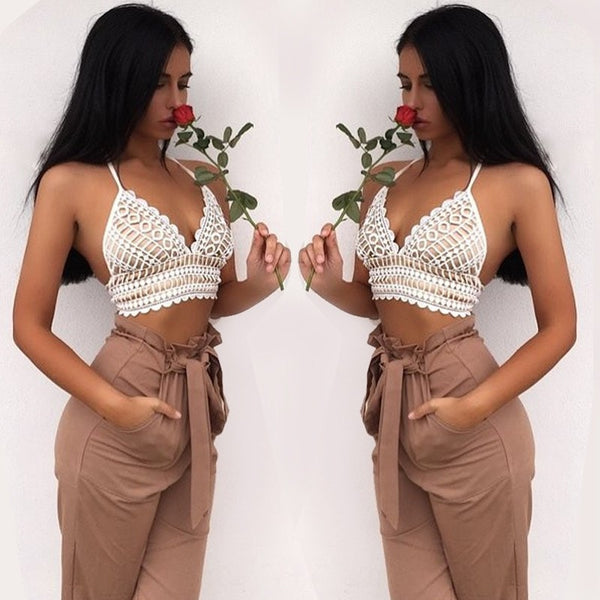 New Fashion Women Halter Tank Crop Top Summer White lace Hollow out Sexy tank tops