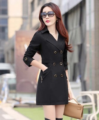 Costbuys  Women Trench Coat Slim Double-Breasted Trench Coats Female Casual Windbreaker Outwear - Black / L