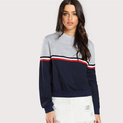 Striped Woven Tape Detail Two Tone Sweatshirt Women Casual Pullovers Color Block Long Sleeve Sweatshirts