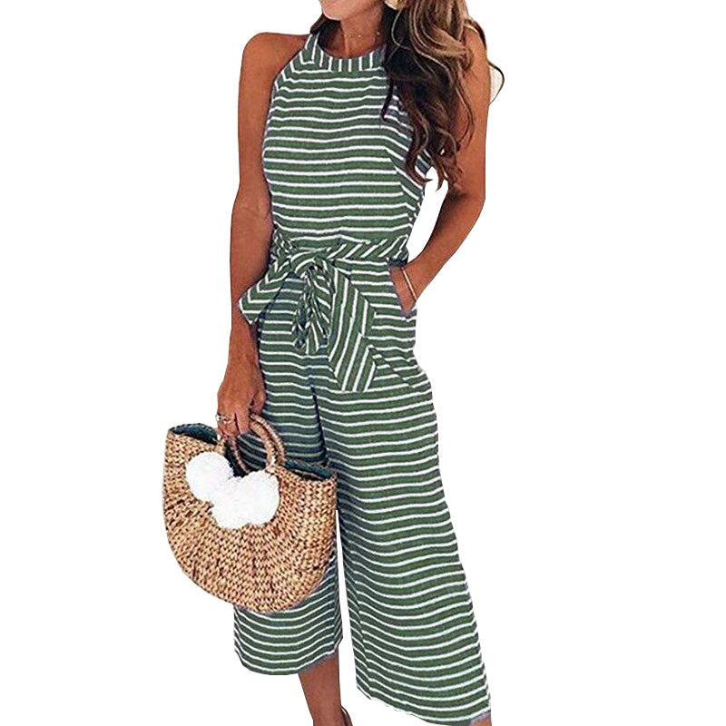 dec09eaf3fe Summer Striped Jumpsuits Rompers Full Length Pants Women Jumpsuit Sexy –  Costbuys