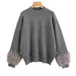 Rhinestone Ans Faux Fur Embellished Cuff Jumper Grey Crew Neck Casual Pullovers Autumn Elegant Long Sleeve Sweater
