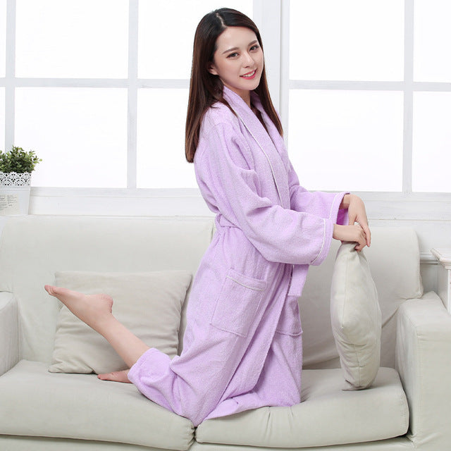Costbuys  Cotton terry couples bathrobes women robe men hotel bathrobe soft breathable absorbent sleepwear - women purple robes
