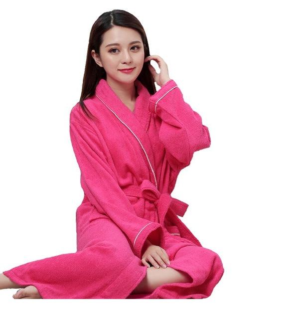 Costbuys  Cotton terry couples bathrobes women robe men hotel bathrobe soft breathable absorbent sleepwear - women red robe terr