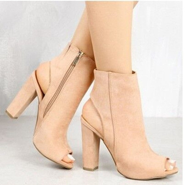 Costbuys  Ankle Strap Women Zip Sandals High Heels Open Toe Woman Elegant Summer Dress Wedding Shoes Black Nude - nude / 34