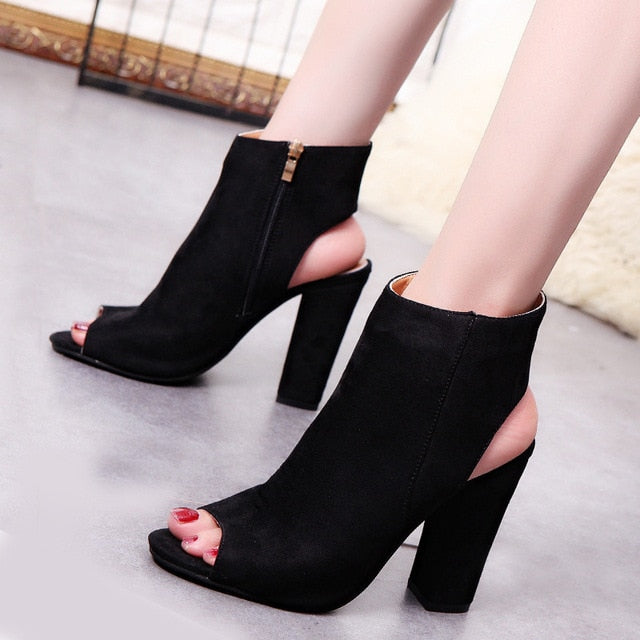Costbuys  Ankle Strap Women Zip Sandals High Heels Open Toe Woman Elegant Summer Dress Wedding Shoes Black Nude - black / 34