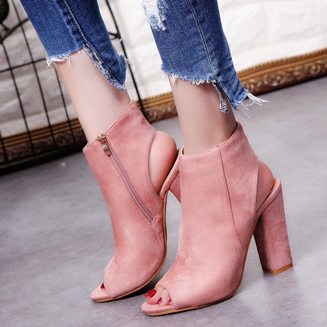 Costbuys  Ankle Strap Women Zip Sandals High Heels Open Toe Woman Elegant Summer Dress Wedding Shoes Black Nude - pink / 34