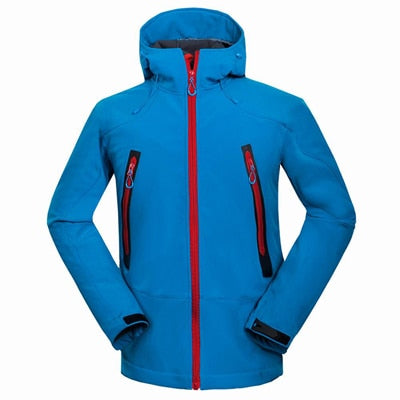 Costbuys  Outdoor Softshell Men's Hiking Jackets Waterproof Windproof Thermal Jacket For Camping Ski Thick Warm Coats - Blue / L