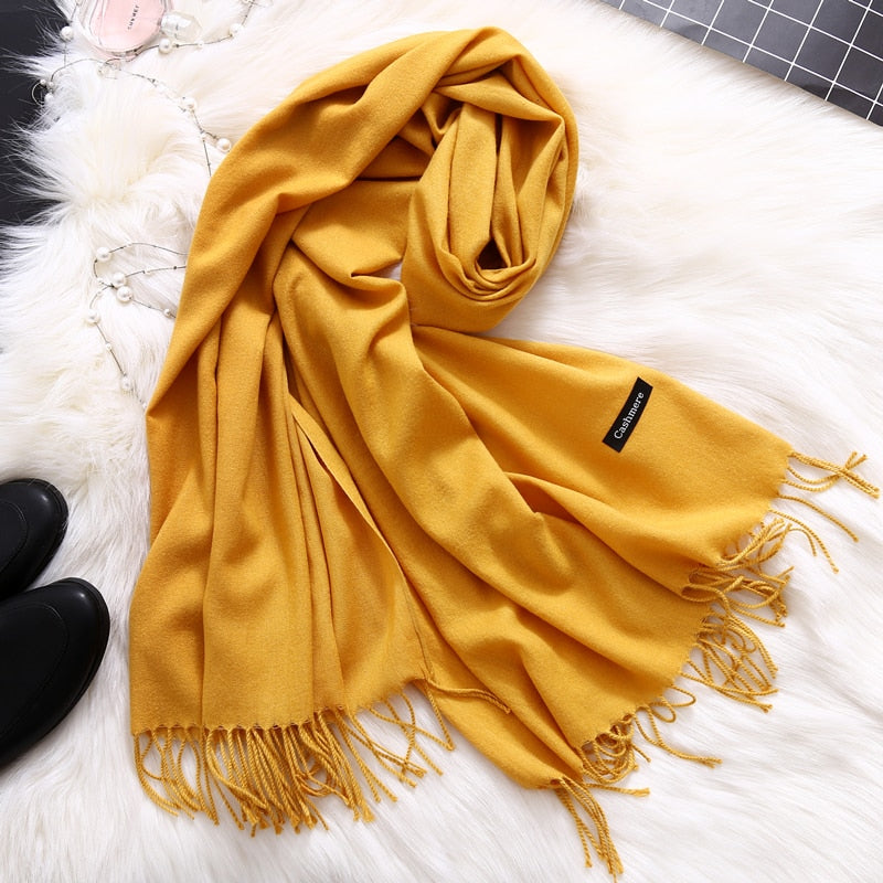 Winter scarves for women shawls and wraps lady pashmina pure long cashmere head scarf hijabs stoles
