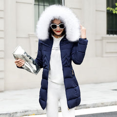 Winter Female Long Jacket Winter Coat Women Fake Fur Collar Warm Woman Parka Outerwear Down Jacket Winter Jacket Women Coat