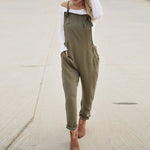 Summer Women Casual Spaghetti Straps Pockets Long Playsuit Solid Slim Jumpsuit Overalls Bodysuit Work Turnip Pants