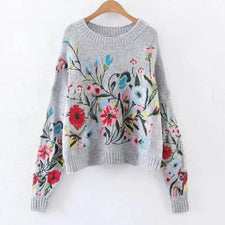 Autumn Autumn solid color round collar full sleeve loose embroidered sweater women
