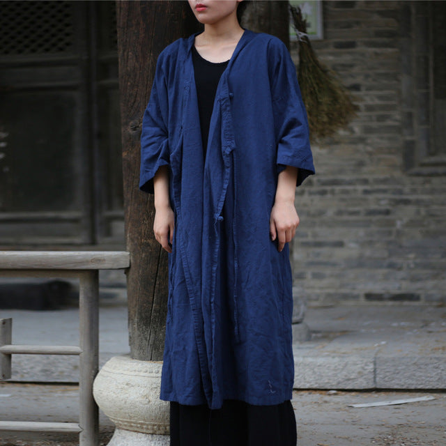 Costbuys  Women Bandage Trench Coat Vintage Linen Fall New Loose Casual V-Neck Button Trench Female Coat - Navy blue / One Size