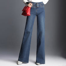 Female Elegant Wide Leg Flare Jeans High Waist Womens Beautiful Fashion Jeans Plus Size Straight Washed Jeans With Belt