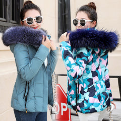 Winter Jacket Women Parkas for Coat Female Down Jacket With a Hood Large Faux Fur Collar Coat Autumn