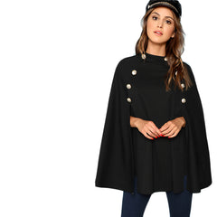 Black Highstreet Office Lady Double Button Mock Poncho Solid Elegant Coat Autumn Women Workwear Outerwear Clothes