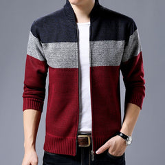 Clothing Jacket Men Casual Mandarin Collar Men's Coat Gradient knitting Zippers Men's Jackets And Coats