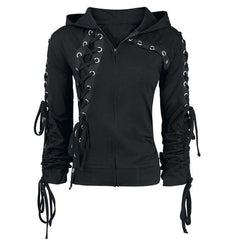 Gothic Punk Women Hoodies Lace up Hooded Long Sleeve Casual Darkness Autumn winter Goth Black Sweatshirt Plus Size