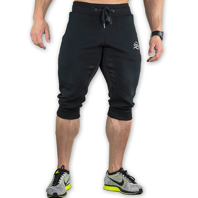 Costbuys  Summer Mens Jogger Sporting Shorts Men Black Bodybuilding Short Pants Male Fitness Gyms Shorts for workout - 1 / L