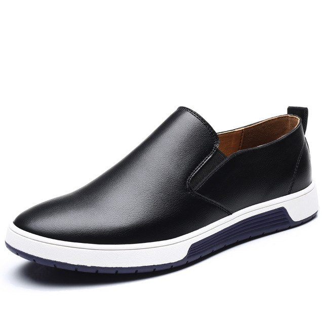 Costbuys  Male Black Leather Loafers Casual Shoes Men's Brown Blue Summer Mesh Flats Sneakers Loafers Shoes Lace-up - Black slip