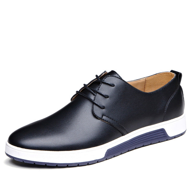 Costbuys  Male Black Leather Loafers Casual Shoes Men's Brown Blue Summer Mesh Flats Sneakers Loafers Shoes Lace-up - Black lace