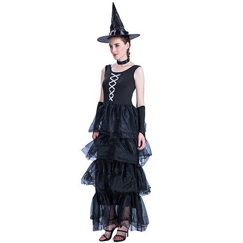 Costbuys  Cosplay Halloween Costumes For Women Witch Cosplay Adult Vampire Costumes Sleeveless Black Layer Halloween Dress - Bla