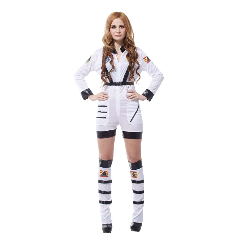 Costbuys  Carnival Party Halloween Costumes Sexy Astronaut Cosmonaut Costume Women Adult White Pilot Cosplay - M