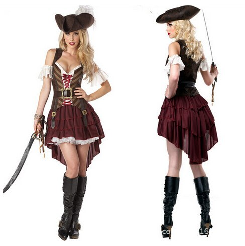 Costbuys  Cosplay party pirates clothes nightclub women sexy uniform adult hot carnival halloween costume dress & hat