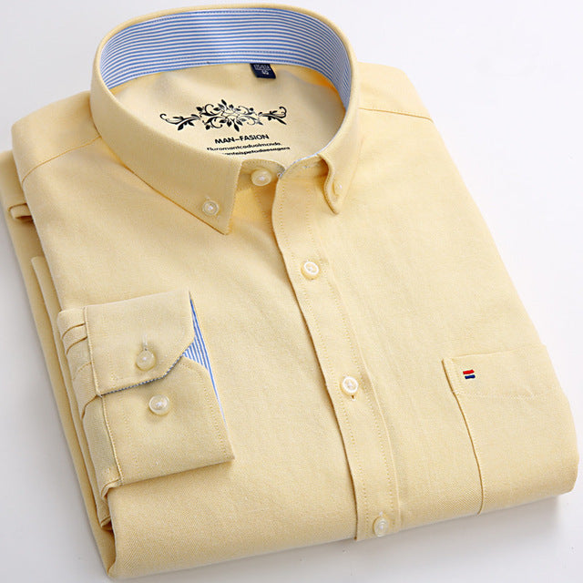 Costbuys  Men's Long Sleeve Blue Oxford Dress Shirt with Left Chest Pocket Cotton Male Casual Solid Button Down Shirts - Yellow