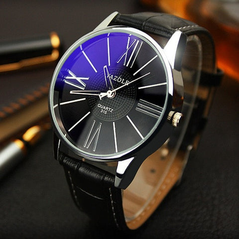 Men Watches Casual Military Quartz Sports Wristwatch Leather Strap Male Clock watch